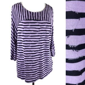 Dana Buchman soft tunic top lightweight striped